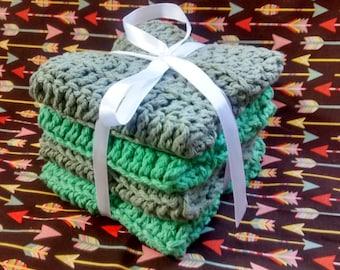 Crocheted Wash Cloths / Dish Cloths Set of 4 Natural Scrubbing wash cloths