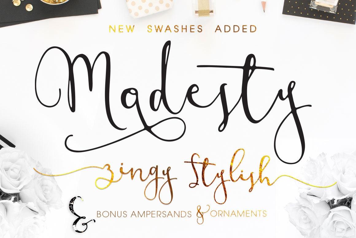 Modesty modern calligraphy font download handwritten script Modern script font