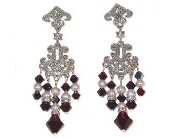 WHITE Pearl & Red GARNET Crystal Earrings Chandelier Silver Swarovski Elements