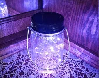 Hanging Mason Jar Solar Lid Light - Purple Angel Light - Firefly Light - with Clear Mason Jar and Hanger - fairy light, solar mason jar