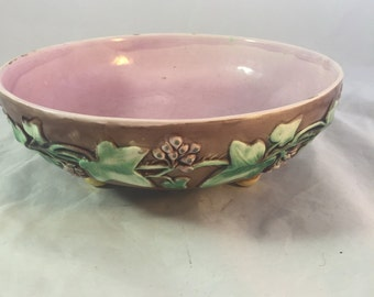 Large Antique Majolica Bowl From England