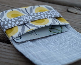 Gift Card Pouch - Business Card Wallet - Card Wallet - Gift Card Holder - Mini Wallet - Yellow and Gray - Gift Under 10