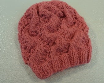 Handcrafted Toddler Hat Pink Slouchy 100% Alpaca Female Kids 2-4