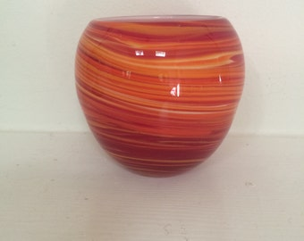 Red and Orange Cased Glass Votive