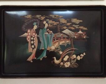 Mid Century Geisha Motif Decorative Tray - Hand Painted Vintage Hanging Tray