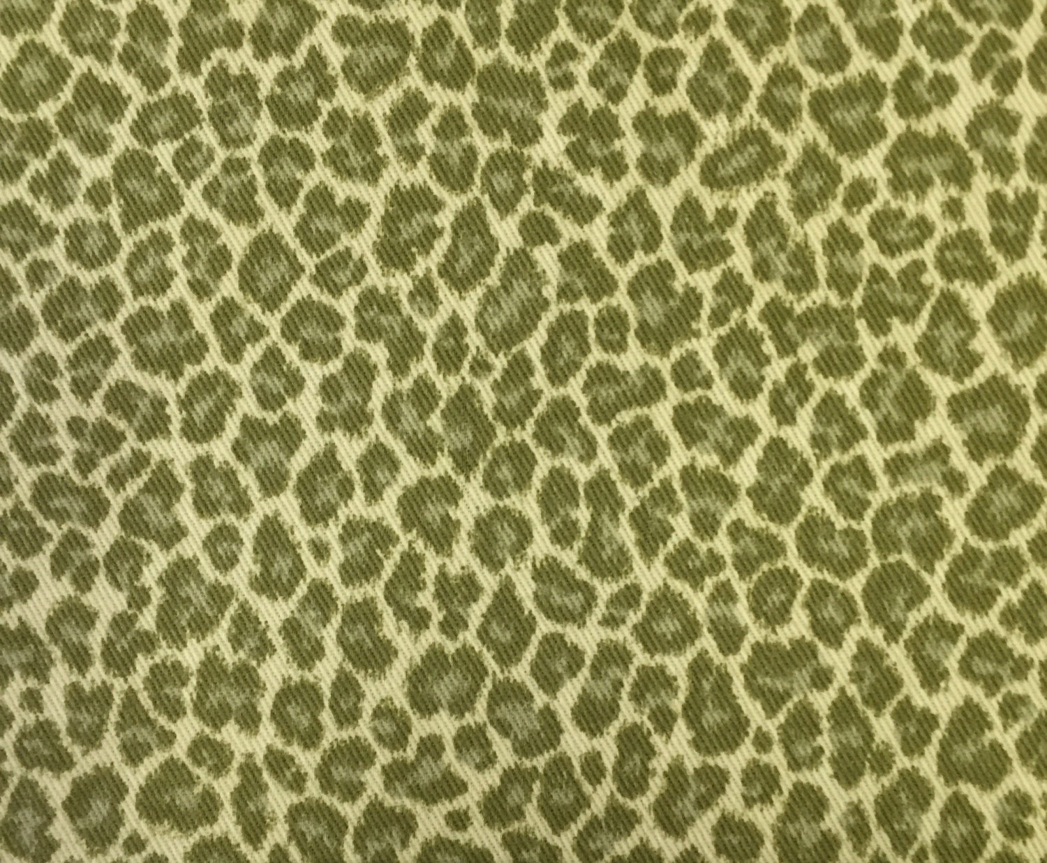Olive Green Leopard Print Upholstery Fabric By The Yard