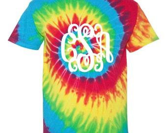 monogrammed shirt, monogrammed tee, monogrammed t shirt, monogrammed tie dyed shirt, personalized shirt