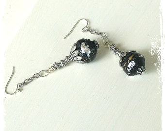 Hold for T - Handmade black and silver ball earrings - Bohemian tribal earrings - Boho jewelry - Stocking stuffer - Gift idea