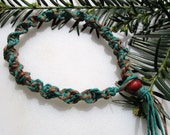 Dark Brown and Green, Hemp Necklace, Hemp Anklet, Hemp Bracelet, Mens Hemp Necklace, Unisex Hemp Jewelry