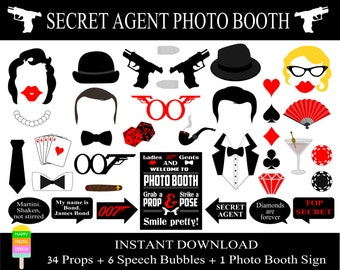 PRINTABLE James Bond Photo Booth Props –Printable Photo Booth Sign-Printable Agent 007,James Bond Props-Digital Photo Props-Instant Download