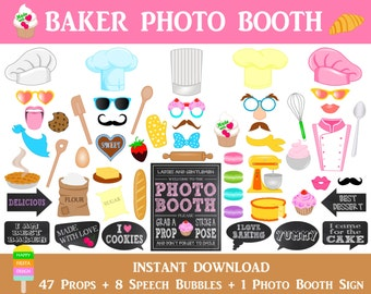 Baker Photo Booth Props–56 Pcs (47 Props,8 Speech Bubbles,1 Photo Booth Sign)-Printable Baking,Cupcake,Dessert Photo Props-Instant Download