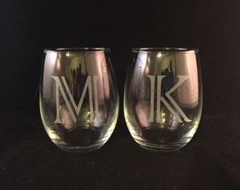 Personalized Wine Glass, Stemless Wine Glass, Etched Glass, Personalized Gift, Monogram Gift, Hostess Gift, Bridal Gift, Etched Wine Glass