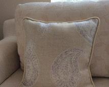 Beige Paisley Decorative Pillow