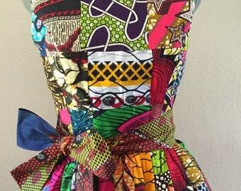 Summer Beauty Dutch Wax Handmade Patchwork Sleeveless Maxi Dress With Pockets and Sash