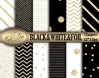 Digital Paper black white Gold Foil confetti Stripes&Chevron digital background for scrapbooking,invites,cards,web design,Instant Download