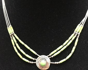 Liquid  sterling silver and green necklace