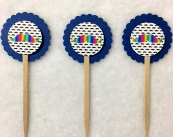 Set Of 12 Rainbow Mustache Cupcake Toppers (You Choice Of Any 12)