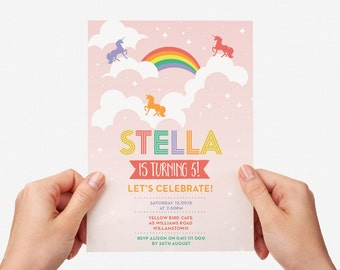 Rainbow Unicorn Kids Party Invite First birthday Baby Girl Invite Toddler Pastel Colourful 1st 2nd 3rd 4th 5th Printable Invite