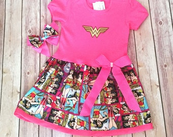 Girl's Superhero Dress, Wonder Woman Dress, Super Girl Dress, Pink Super Hero Dress, Supergirl Dress
