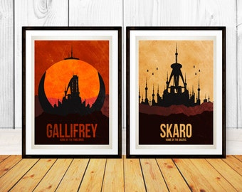 Doctor Who Travel Poster Set - Gallifrey and Skaro - Retro Travel - Wall Art - (Available In Many Sizes)