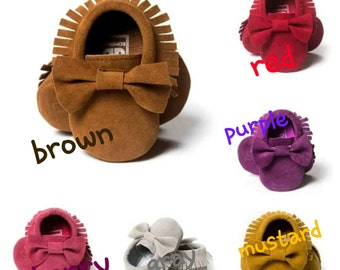 Baby bow moccasins /Baby Fashion Soft Sole Suede Shoes Toddler Infant Boy/Girl Tassel Moccasin