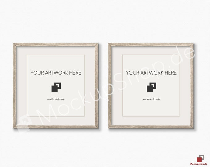 Set of 2 SQUARE MOCKUP FRAME on structure white wall, Frame Mockup, Amazing brown photo frame mockup, Digital Download Square Frame Mockup