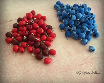 Berry beads, beads berry, blueberry beads, dogwood beads, polymer clay beads, summer beads, red beads, blue beads, Handmade beads