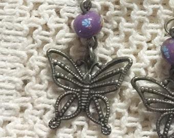 Antiqued Silvertone Butterfly Earrings