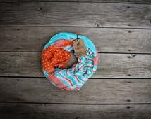 Chevron and Triangles Mint and Coral  Infinity Scarf, Soft, Lightweight, Fall and Winter Scarf Teal and Coral Peddling Panda ThePeddling