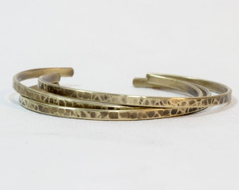 Set of 3 skinny cuff bracelets .  Sterling Silver over brass. or Solid brass with antique finish.