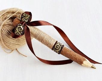 Rustic Wedding Pen, Guest Book Pen, Natural Twig Pen, Jute Wedding Pen, Burlap Pen, Guest Book Pen with Floral Trim Bow, Burlap Wedding Pen