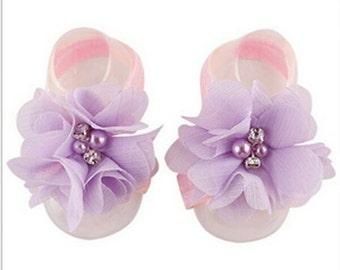Soft Pink & Lavender Chiffon Flower Barefoot Sandals - Newborn Barefoot Sandals - Newborn Photo Prop - Pink and Lavender Cake Smash Prop