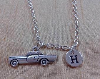 KIDS SIZE - Vintage Car charm necklace - car jewelry, Vintage car necklace, automobile jewelry, gift for new driver, silver necklace