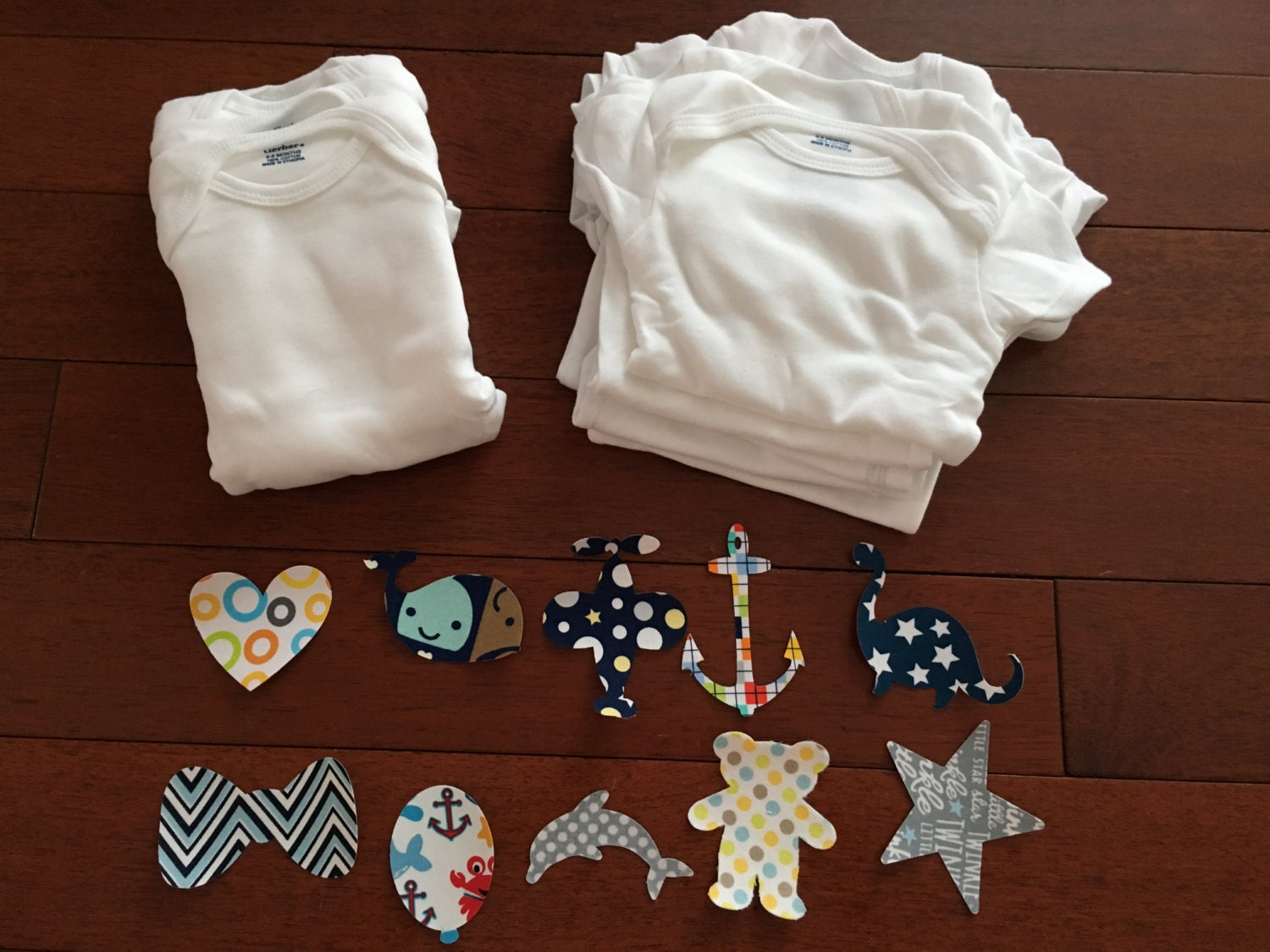 30 piece iron on fabric applique for onesies decorating for Baby themed fabric