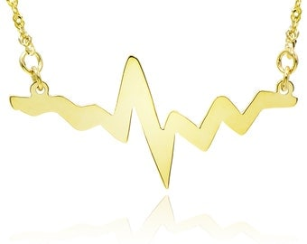 14k Yellow Gold Heart Beat Pulse Necklace