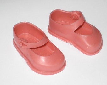 "Vintage Pink Mary Janes Doll Shoes Marked ""Roddy - Made in England"""