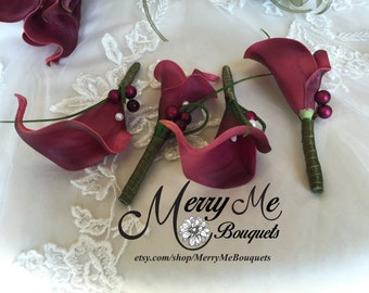 Burgundy Boutonniere - Burgundy Calla Lily Boutonniere - Burgundy Lapel Flower - Burgundy Boutonnieres - Burgundy Realistic Boutonniere