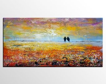 Love Birds Painting, Large Painting, Art Painting, Abstract Painting, Canvas Art, Large Wall Art, Abstract Art, Original Painting, Large Art