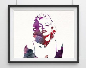 Marilyn Monroe art - watercolor - Marilyn Monroe - modern decor