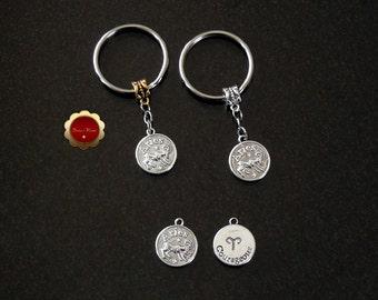Aries Keychain, Horoscope Keychains, Aries Charm Key Rings, Zodiac Keychains, Silver Aries Pendant, Ram Keychain, Custom Keychain