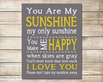 PRINTABLE ART You Are My Sunshine Wall Art Children's Wall Art You Are My Sunshine Sign Nursery Art