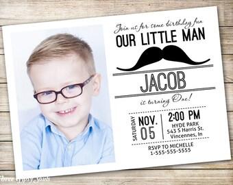 Mustache Invitation Little Man Invitation Mustache Party Little Man Birthday Invitation 1st Birthday Party Little Man Printable Invitation