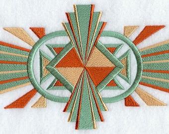 SOLEIL ART DECO Sunburst Pattern Design Period Colors Geometric Machine Embroidered Quilt Square, Block, Art Panel