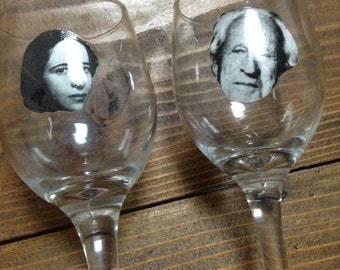 Hannah Arendt and Herbert Marcuse Wine Glasses