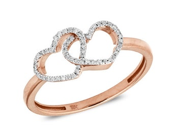 Diamond Double Heart Ring 14K Gold