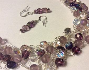 Wire Crochet Necklace, Purple Crystal Crochet Jewelry, Crocheted Beaded Necklace, Crocheted Wire Necklace, Matching Dangle Earrings