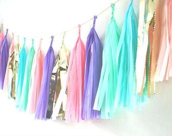 Vintage Fete Tissue Tassel Garland - Giant Balloon Tails / Tissue Tassels / Wedding Decor / Wall Decor / Baby Shower