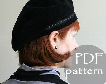 Women Classic Hat Beret PDF Sewing Pattern/ S, M, L  sizes/ French Art Style Tam Beret/ Digital printable pattern/ Sewing Project/ Black hat