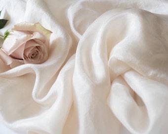 Ivory silk table runner, hand-dyed ivory silk fabric, ivory silk,  bridal bouquet, ivory silk, silk bridal sash, silk gauze fabric