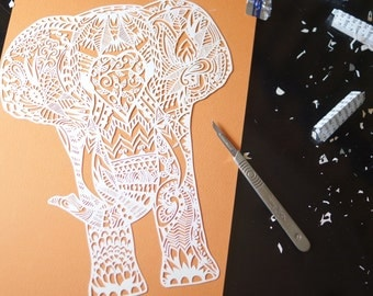 Digital download 'Humphrey elephant' template for paper cutting.